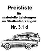 Preisliste für materielle Leistungen an Straßenfahrzeugen - Trabant 601